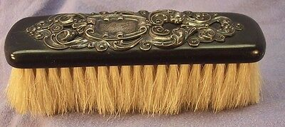 Victorian Clothes Brush Wood With Sterling Applique And Monogram W G F