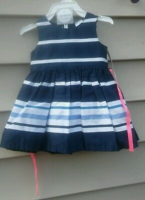 Carter's Girls Dress/panties 3 Months  Blue Striped Sleeveless Cotton/polyester