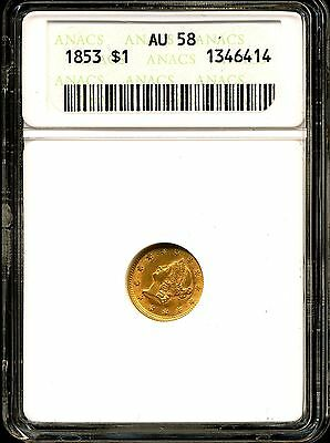 1853 G$1 Liberty Head Gold Dollar AU58 ANACS 13464154
