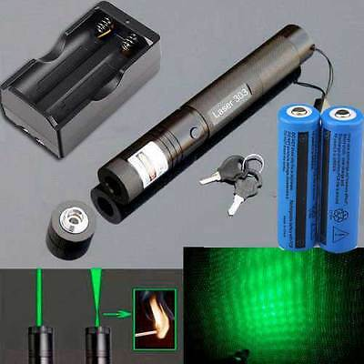 10 Miles 532nm LED 303 Green Laser Pointer Lazer Pen Beam Light+2Pc18650+Charger