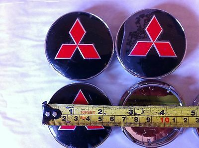 MITSUBISHI ALLOY WHEELS CENTER CAPS SET (4) RED/BLACK Face 60mm Clip 58mm