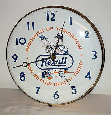 "Rexall Drug Store Advertising Clock w/Bubble Glass Face - 12"" Diameter & WORKING"