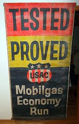 "Large Mobilgas Advertising Banner - 6'-9"" Tall & 3'-7"" Wide - GREAT LOOKING!"