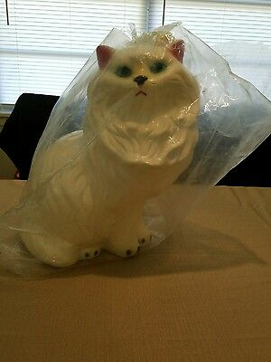 Large Tall Vintage White Blue Eyed Persian Cat Bank Figurine Ceramic Pottery