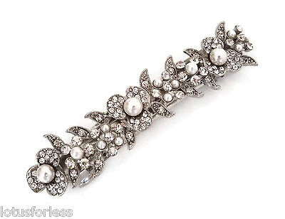 Beautiful Faux Pearl Barrette Spring Hair Clip Grip Crystals Vintage Look Bridal