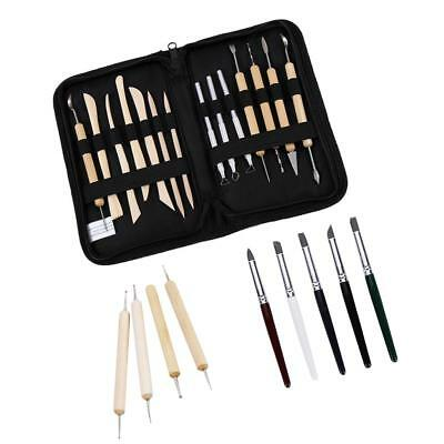 Wooden Handle Pottery Clay Sculpey Sculpting Modelling Tools Carving Shapers