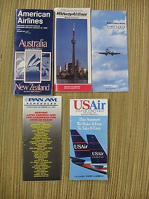 Mixed Lot of 5 Airline Timetables From the 1990's.