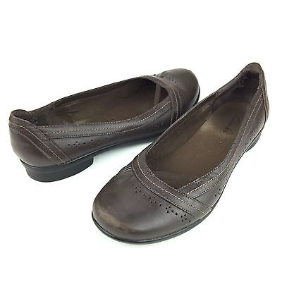 Clarks Brown Leather Flats Slip On Ballet Women's Shoes 7.5 M
