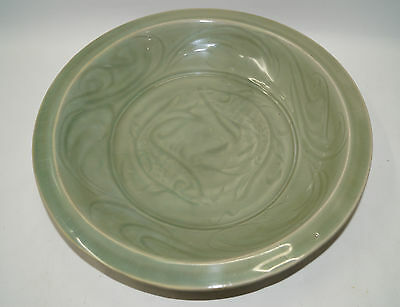 Rare Song dynasty longquan celadon large plate with fish motif 36 cm