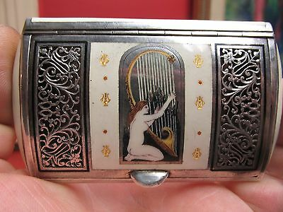 Antique FRENCH Sterling and Enamel VINAIGRETTE - SNUFF BOX ,lady playing harp