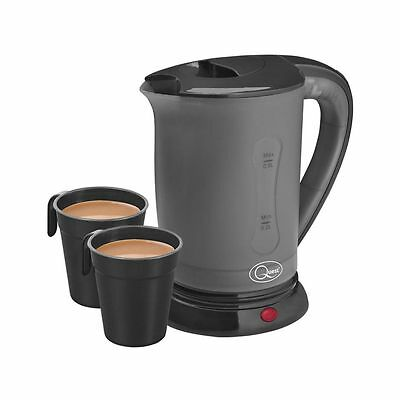 Quest Electric Black Travel Jug 600W Kettle 0.5L Dual Voltage With 2 Cups
