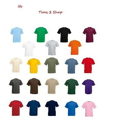 Tee Shirt TShirt NEW UK Fruit of the Loom 100% Cotton Plain Blank Men's Children