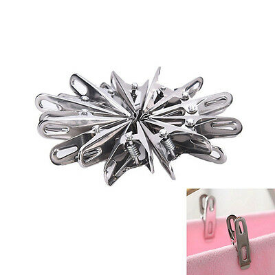 20pcs Stainless Steel Washing Line Clothes Pegs Hang Pins Clips Windproof Clamps