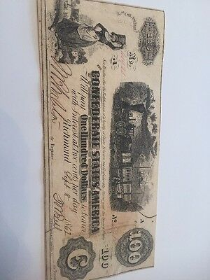 Confederate States Of America 100 Dollar Note, Excellent