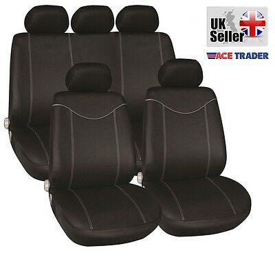 Luxury Full Car Seat Cover Set Black & Grey Piping For Nissan Juke 10-On