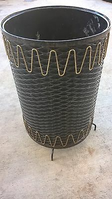 Rare Mid Century Modern Atomic Black & Gold Metal Wire Mesh Trash Can Waste