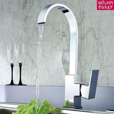 360° Swan Neck Kitchen Mixer Tap Single Lever Swivel Spout Square Brass Chrome