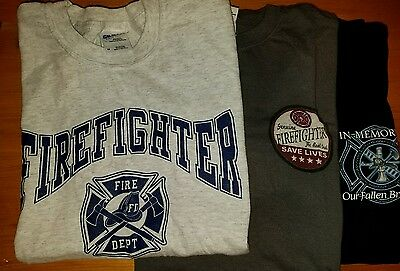 Lot of 3 Firefighter (fire rescue) shirts