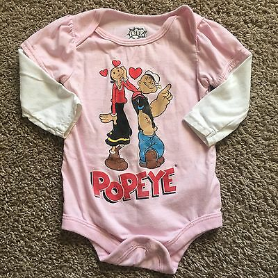 Baby Girls Size 3-6 Months Pink Popeye The Sailor Bodysuit Top Long Sleeve