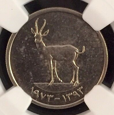 1393//1973 United Arab Emirates 25 Fils Ngc Ms62