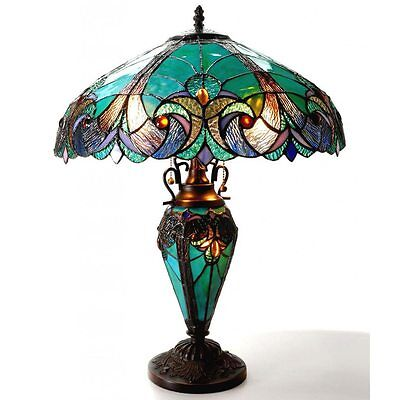 Tiffany Style Lamp Table Stained Glass Light Lighting Reading Elegant Vintage
