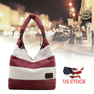 Women Fashion Stripe Handbag Shoulder Bag Large Tote Ladies Purse WE