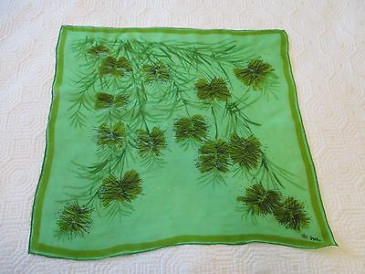 Vintage Early 1960's Vera Neumann Abstract Pine Cone Green  Chiffon Scarf