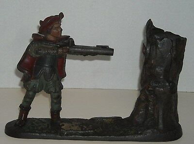 Antique New Creedmoor Cast Iron Wiliam Tell Mechanical Bank - Works