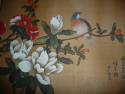 Antique Chinese 2 hand on silk paintings pair birds trees flowers made in China