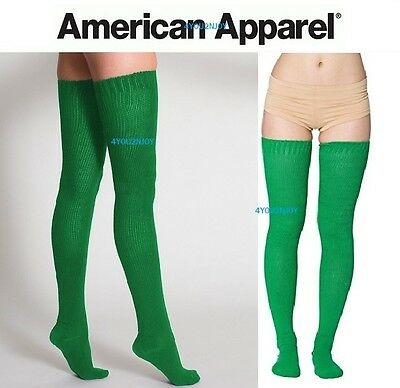 American Apparel Thigh High Socks Green New in Package Long Over The Knee NWT