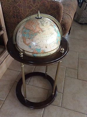 SUPER SALE MCM Rare George f. Cram world globe U.S.A. floor stand brass/wood