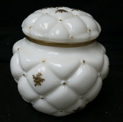 Consolidated milk glass tobacco / biscuit jar & lid Con Cora diamond quilted