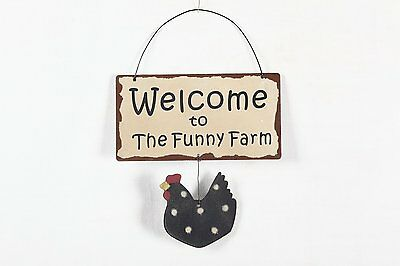 """7"""" Rustic Metal Wisdom Sign Color Wall Art with Hen """"Welcome to the funny Farm"""""""
