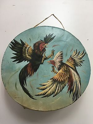 """Rawhide drums , PELEA DE GALLOS , ROOSTER , Hand painted 12"""" , with beater"""