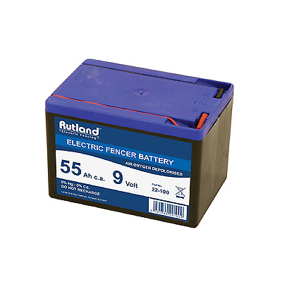9 Volt Electric Fencer Battery 55Ah Rutland British Company High Quality