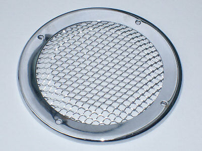 Chrome round grill, vent, house, canal boat, cruiser, river, narrow boat.