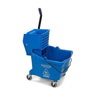 Carlisle 3690414 Flo-Pac Mop Bucket with Side Press Wringer 35 Quart Blue