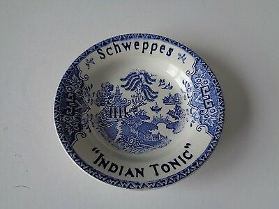 Vintage Schweppes Indian Tonic Blue Willow Lunville France Ashtray Coin Dish