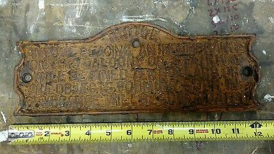 Early Cast Iron Balcony Sign Very Nice Condition Patina