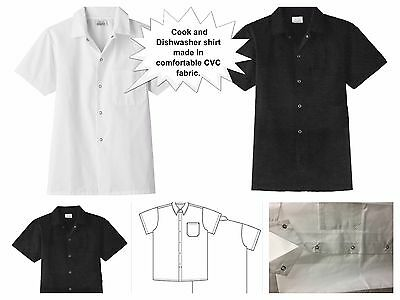 New All Star Chef Men's New Short Sleeve Snap Front Closure Poplin Cook Shirt