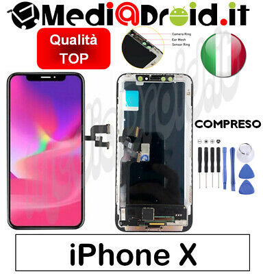 Apple Iphone X Nero Vetro Display Touch Lcd Schermo Completo Originale Tianma 10