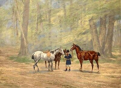 Wonderful oil painting young man with three horses in forest Hand painted art