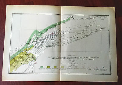 1904 Map of Cretaceous Beds on Long Island New York by AC Veatch