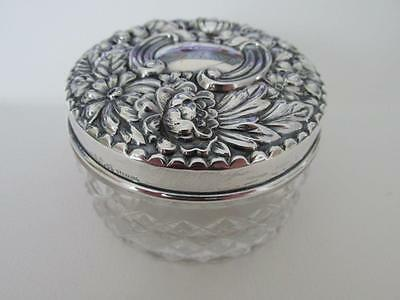 Dated 1898 Antique GORHAM STERLING SILVER REPOUSSE & CUT GLASS VANITY JAR