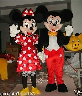 New Adult Mickey & Minnie Couple Mouse Mascot Costume Fancy Party Dress