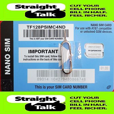 Straight Talk AT&T Compatible NANO SIM Card For AT&T & Unlocked GSM Phones LTE