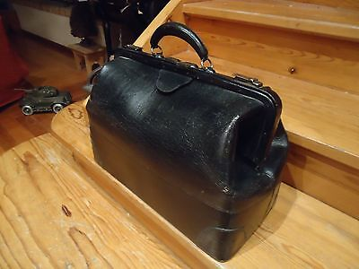 Antique Vintage Doctor Bag Cowhide Leather Medical Medicine Bag