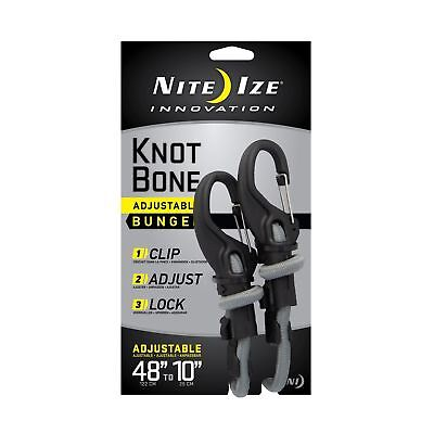 """Nite Ize KnotBone Adjustable Bungee Cord Large 9mm 10""""-48"""" w/ Carabiner Clip"""