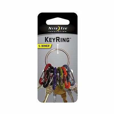 Nite Ize S-Biner KeyRing Stainless Keychain w/Colorful Plastic S-Biners Key Ring