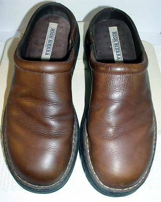 Men's HIGH SIERRA Brown Leather Mules/Slides - Size 9 1/2